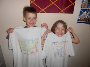 showing off their shirts
