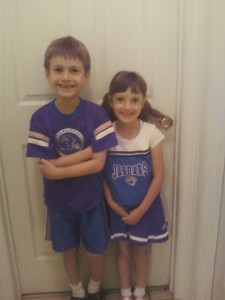 It's homecoming week at school so for twin day, the kids dressed up as Jaguar fans since my hometown is Jacksonville and they both had the outfits already.  Hopefully this will bring some luck to the team because this season has been quite disappointing thus far.  (Please forgive the quality because I had to take the picture with my crappy phone due to dead camera battery.)
